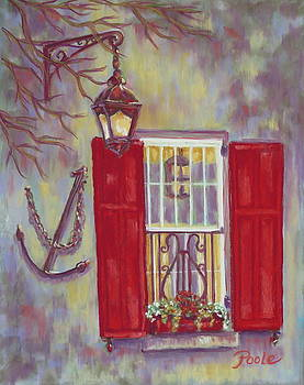 Charleston Red Shutters by Pamela Poole