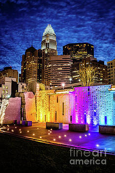 Paul Velgos - Charlotte Cityscape and Bearden Park Waterfall Wall at Night