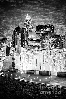 Paul Velgos - Charlotte Cityscape at Night Black and White Photo