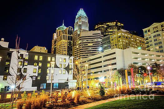 Paul Velgos - Charlotte NC Downtown City at Night Photo