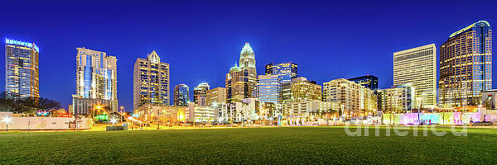 Charlotte Skyline at Night Panorama Photo by Paul Velgos