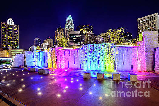 Charlotte Skyline at Night with Romare Bearden Park by Paul Velgos