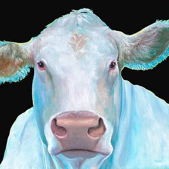 Jan Matson - Charolais Cow painting on black background
