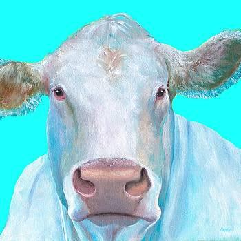Jan Matson - Charolais Cow painting on blue background