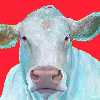 Jan Matson - Charolais Cow painting on red background