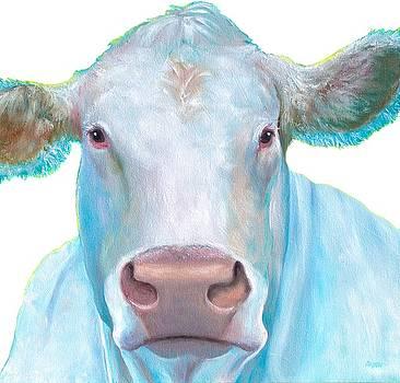 Jan Matson - Charolais Cow painting on white background