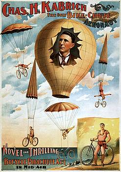 Chas. H. Kabrich, the only bike-chute aeronaut, poster, 1886 by Vintage Printery