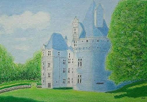 Chateau de Puyguilhem, Dordogne - Oil Pastel by Peter Farrow
