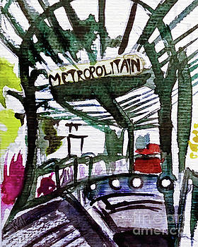 Chatelet Paris Metro Watercolor sketch by D Renee Wilson