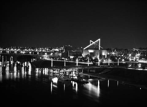 Chattanooga Riverwalk Night Black and White by Larry Underwood
