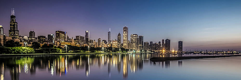 Chicago Skyline at dawn with a panoramic crop  by Sven Brogren