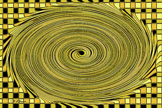 Checker Board To Spiral Abstract by Tom Janca