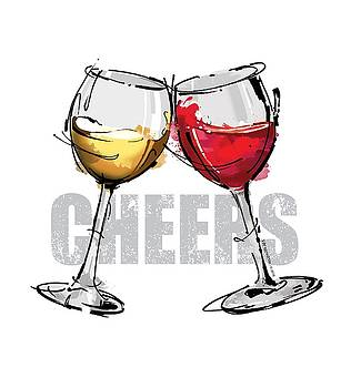 Cheers Wine Glasses by Pat Thompson