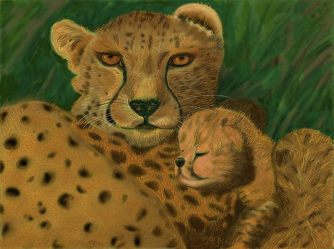 Cheetah And Her Cub by Suanne Forster
