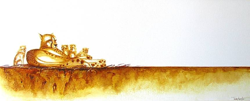 Cheetah Mum and Cubs - Original Artwork by Tracey Armstrong