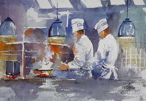 Chefs In Kitchen  by Faruk Koksal
