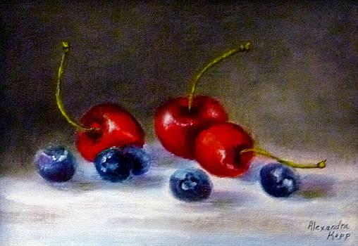 Cherries and Blueberries by Alexandra Kopp