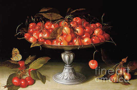 Fede Galizia - Cherries in a silver compote with crabapples on a stone ledge and a fritillary butterfly
