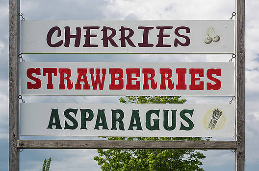 Cherries Strawberries Asparagus Roadside Sign by Steve Gadomski