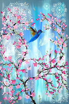 Cherry Blossom and Hummingbird by Cathy Jacobs