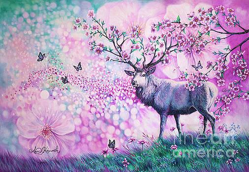 Cherry Blossom Deer by Anne Koivumaki - Fine Art Anne