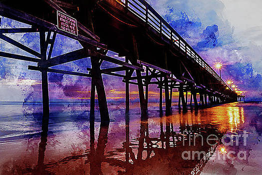 Cherry Grove Pier Sunrise Watercolor by Myrtle Beach Days Collection