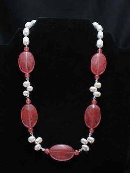 Cherry Quartz Pearl necklace by Sarupa  Shrestha