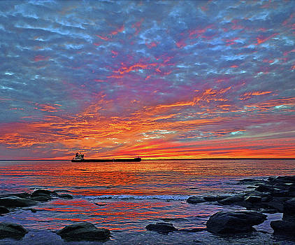 Chesapeake Shipping Channel At Sunset near Annapolis, Maryland by Dale Hall