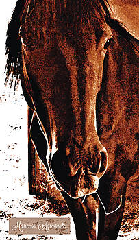 Chestnut Horse in Stable by Mariecor Agravante