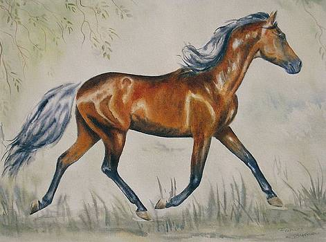Chestnut Horse Painting by Frances Gillotti