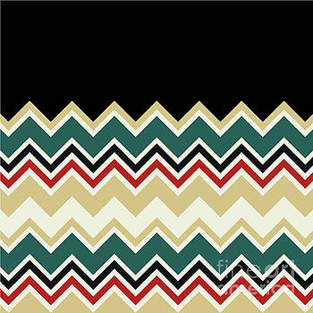 Beverly Claire Kaiya - Chevron Beige Forest Green Red Black Zigzag Pattern