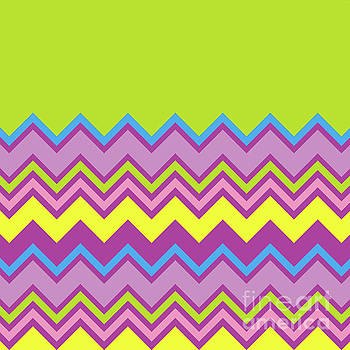 Chevron Bright Green Yellow Blue Purple Zigzag Pattern by Beverly Claire Kaiya