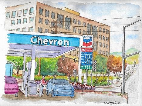 Chevron Gasoline Station in Olive and Buena Vista, Burbank, California by Carlos G Groppa