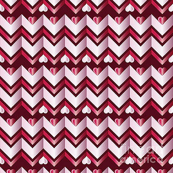 Beverly Claire Kaiya - Chevron Hearts Metallic Ruby Red Pink Zigzag