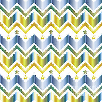 Chevron Metallic Gold Blue Green Gradation Stars Pattern by Beverly Claire Kaiya