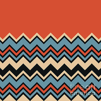 Chevron Orange Blue Beige Black Zigzag Pattern by Beverly Claire Kaiya