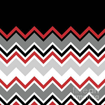 Chevron Red Grey Black White Zigzag Pattern by Beverly Claire Kaiya