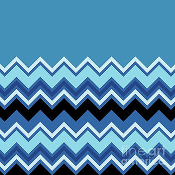 Chevron Summer Cobalt Sapphire Blue Black Zigzag Pattern by Beverly Claire Kaiya