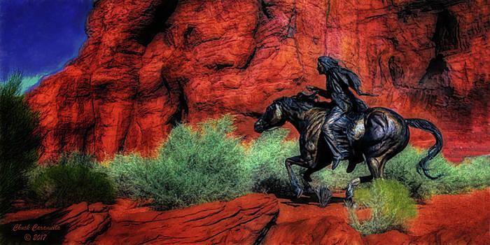 Cheyenne War Pony And Warrior  ... by Chuck Caramella