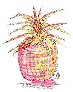 Chic Pink Metallic Gold Pineapple Fruit Wall Art Aroon Melane 2015 Collection by MADART by Megan Duncanson