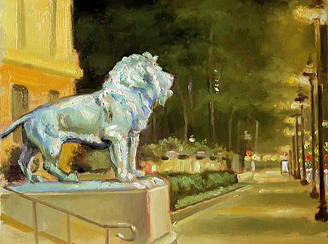 Chicago Art Institute Nocturne Plein Air by Larry Seiler