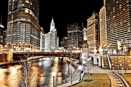 Chicago at Night at Wabash Avenue Bridge by Paul Velgos