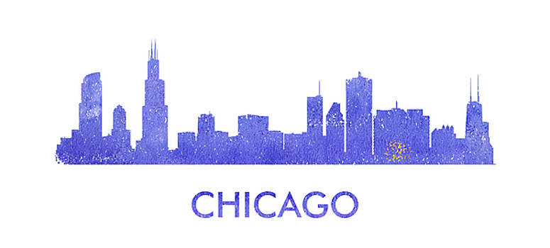 Vyacheslav Isaev - Chicago city purple skyline.