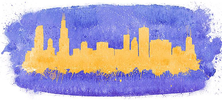Vyacheslav Isaev - Chicago City skyline on purple