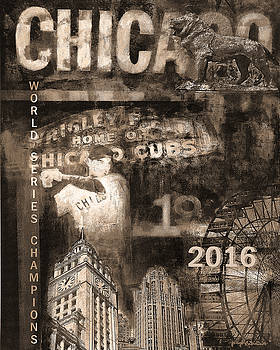 Chicago Cubs 2016 World Series Champions in Sepi by Joseph Catanzaro