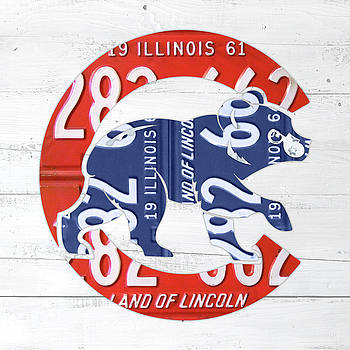 Design Turnpike - Chicago Cubs Retro Vintage Baseball Logo License Plate Art