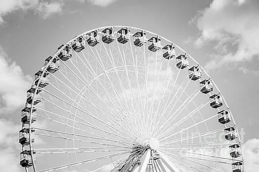 Paul Velgos - Chicago Ferris Wheel Black and White Photo
