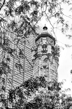 Chicago Historic Water Tower Fog Black and White by Christopher Arndt