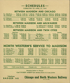 Chicago and North Western Historical Society - Chicago - Madison Line Schedule