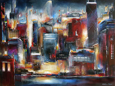 Chicago Night Skyline by Kathleen Patrick